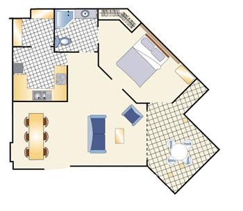 1ベッドルーム見取り図一例