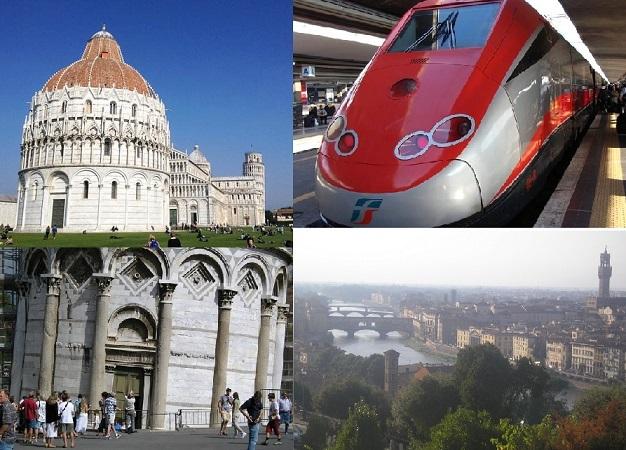 イタリア高速列車の旅! 午前フィレンツェ自由散策と午後ピサの斜塔入場1日観光(ローマ発着)