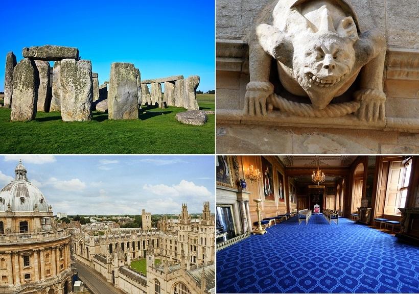 ウインザー城、ストーンヘンジ、オックスフォード1日観光(英語)