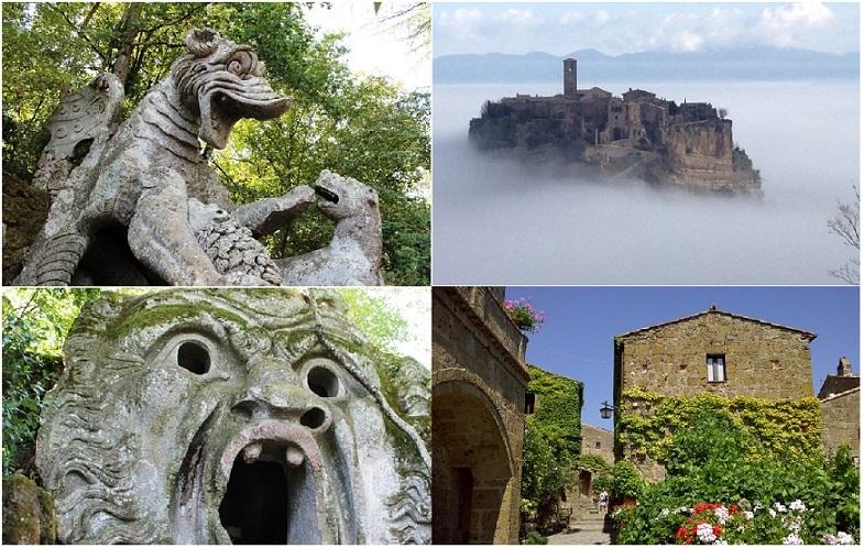 天空のチヴィタ・ディ・バニョレージョと中世の美しい村巡り観光1日ツアー(フリープラン)