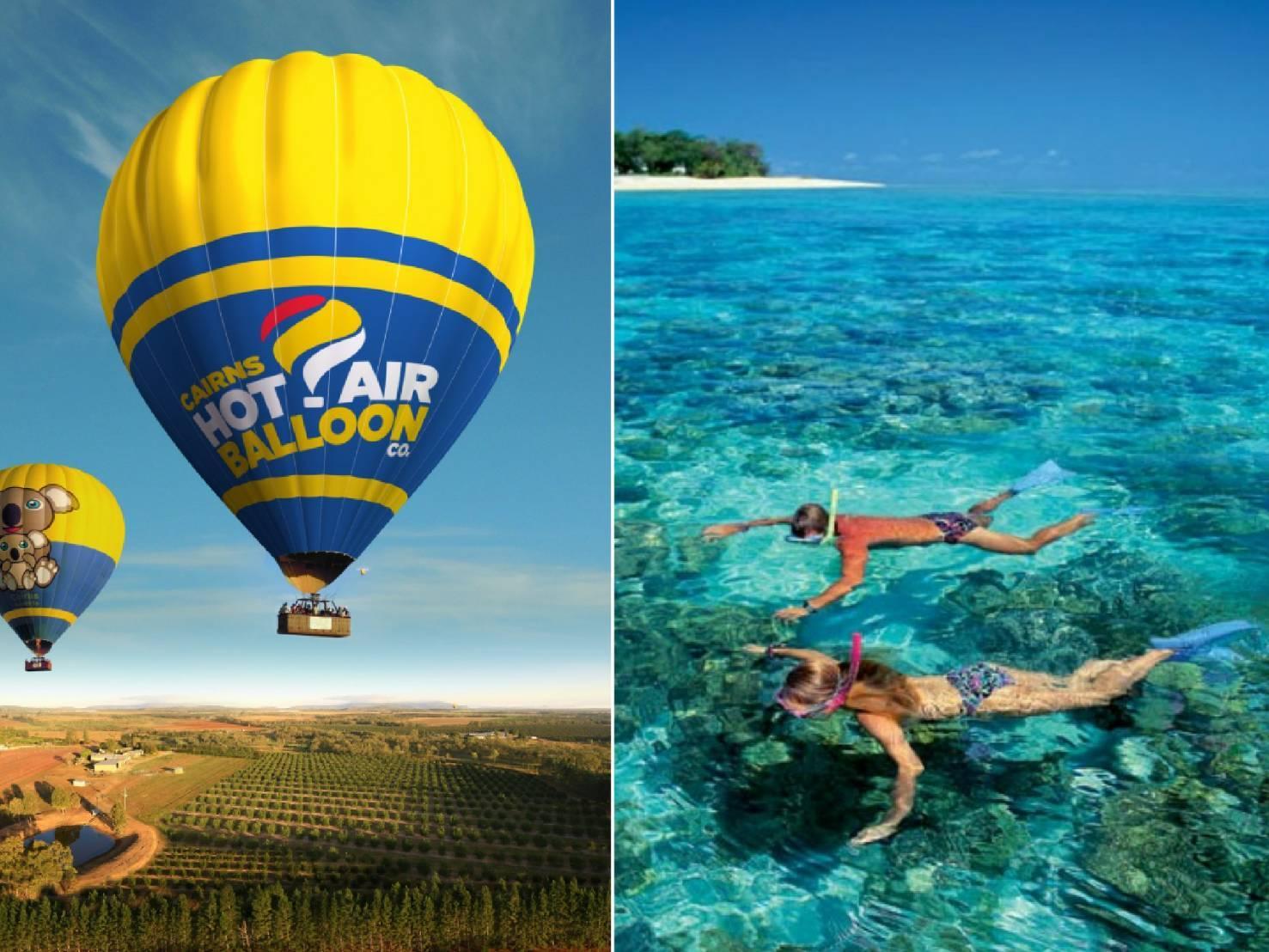 熱気球フライト30分フライト/朝食/シャンパン付き/気球写真USBプレゼント(2019年6月30日まで)+グリーン島クルーズ(シュノーケル/グラスボート)