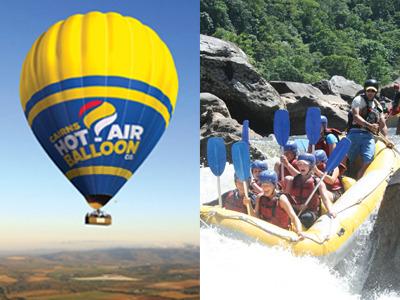 熱気球フライト30分&半日バロン川ラフティングセット気球写真USBプレゼント