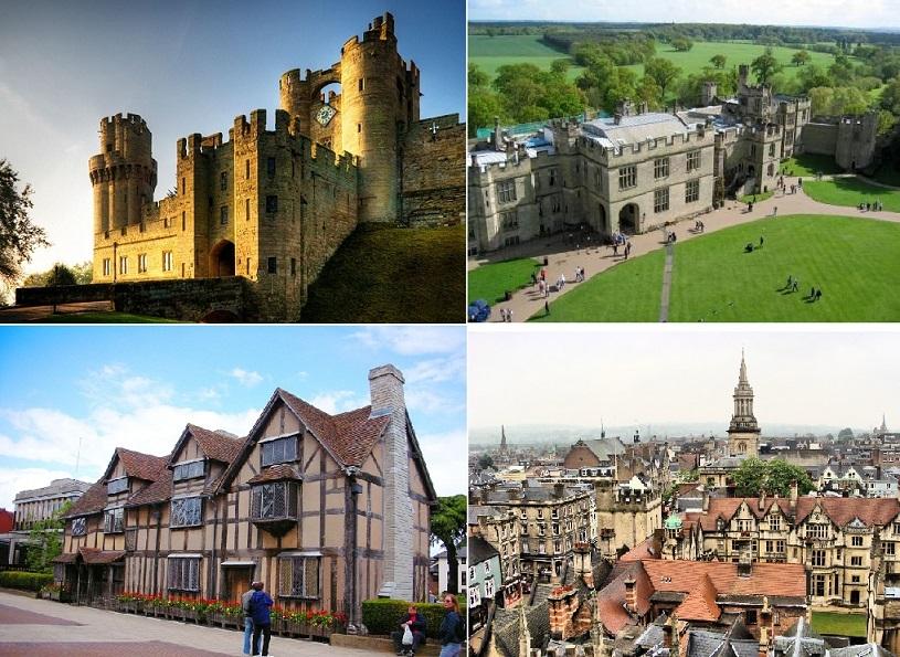 ウォーリック城、ストラットフォード、オックスフォードとコッツウォルズ1日観光(英語)