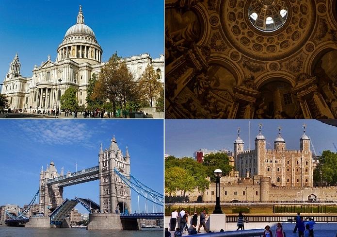 リバークルーズ付き セントポール大聖堂とロンドン塔 半日観光(英語)