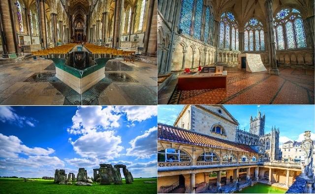 ソールズベリー大聖堂、ストーンヘンジ、バース・英語
