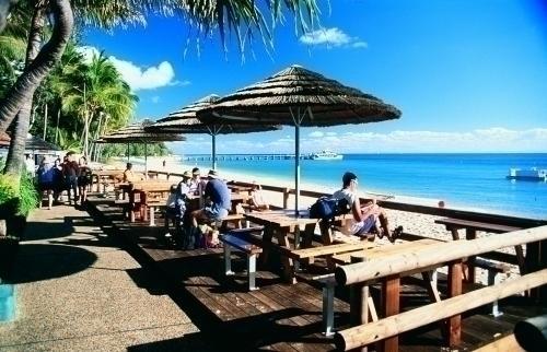 ビーチカフェでは海を眺めながらお食事できます