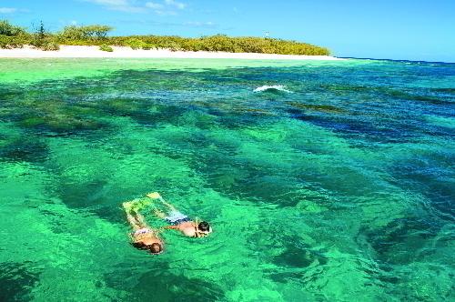 どこまでも透き通るサンゴ礁の海