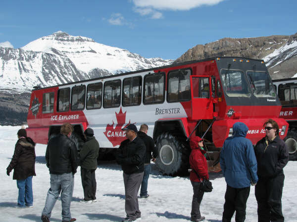 大人気のコロンビア大氷原の雪上車観光!