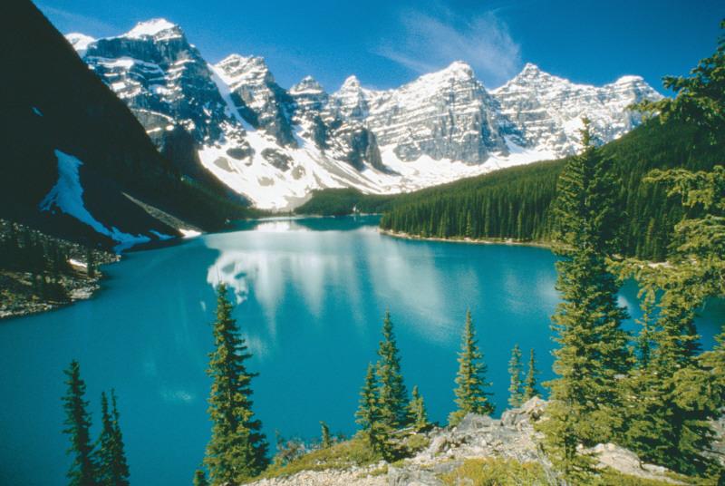 山々がモレーンレイクの鏡に映しだされてるー。