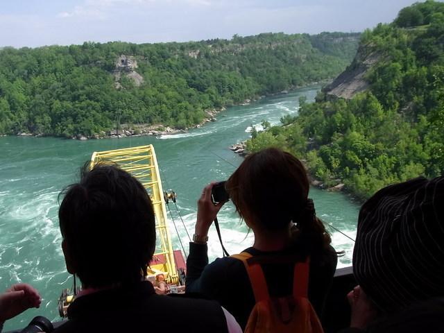 ナイアガラの滝上流でダイナミックな渦巻きを見学
