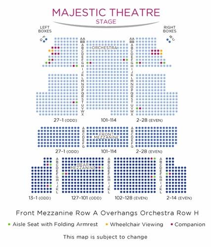 座席表:1階オーケストラ、2階メザニー