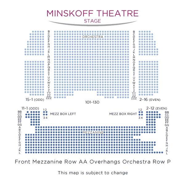 座席表:1階オーケストラ、2メザニー。
