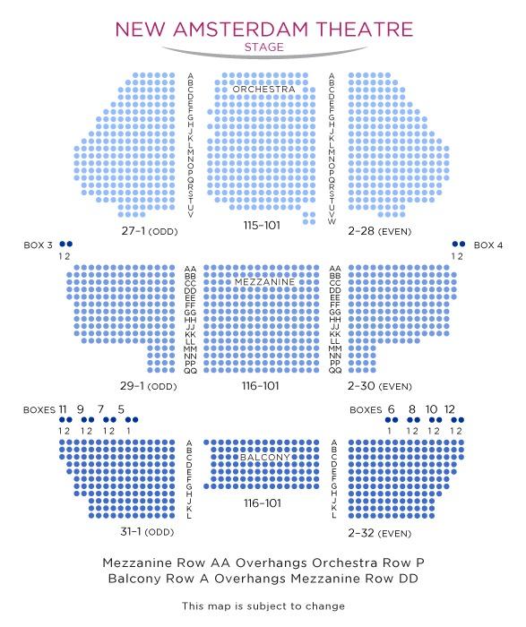 座席表:1階オーケストラ、2階メザニー、3階バルコニー