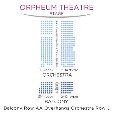 座席表:1階オーケストラ2階バルコニー。