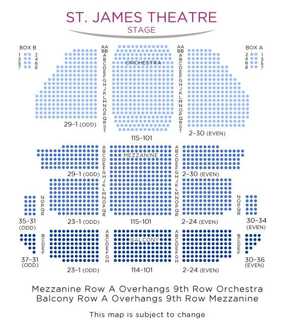 座席表:1階オーケストラ、2階メザニー、3階バルコニー。