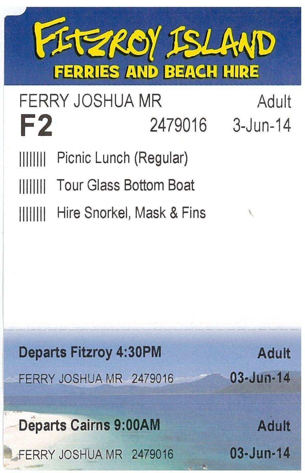 乗船券には含まれるランチ、アクティビティの内容が記載されています