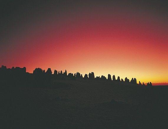 地平線に落ちていく太陽
