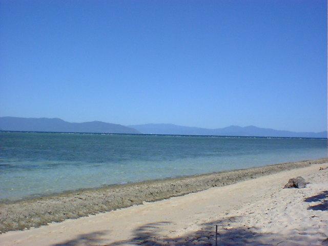 広々としたグリーン島内のビーチ
