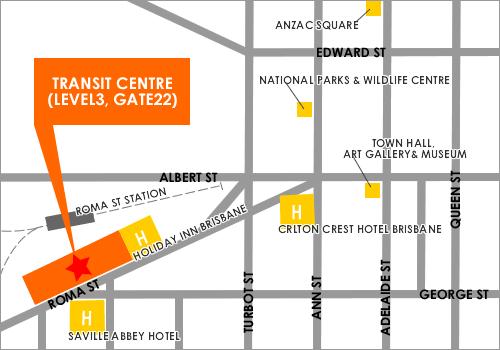ブリスベントランジットセンターの地図