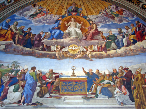 ラファエロの間にある「聖体の論議」(離団要)