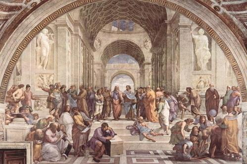 ラファエロの間の「アテナイの学堂」(離団要)