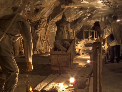 ヴィエリチカの岩塩採掘の様子