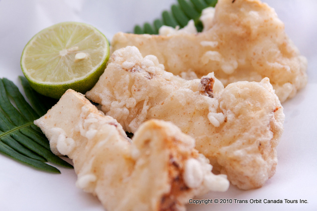 通の食べ方、松茸の天ぷら